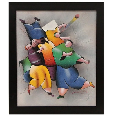 Acrylic Airbrush Painting of Dancing Figures