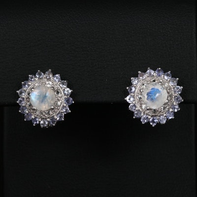 Sterling Silver Tanzanite, Rainbow Moonstone and Zircon Button Earrings