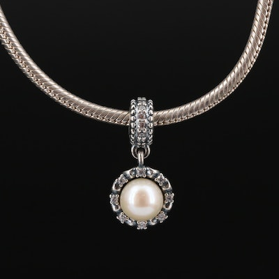 Pandora Sterling Silver Pearl and Cubic Zirconia Charm Necklace