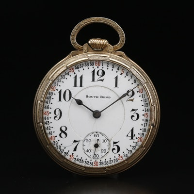 1923 South Bend Gold Tone Open Face Pocket Watch