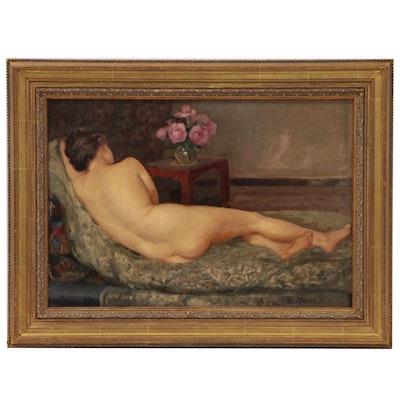 Eugénie Clarac Figural Oil Painting, Early to Mid-20th Century