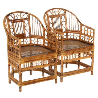 Pair of Bent Bamboo Armchairs, Mid-20th Century