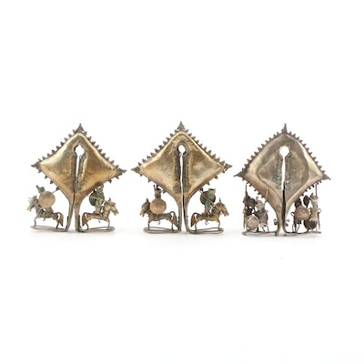 Indonesian Sumba Metal Mamuli Pendents, Late 19th Century