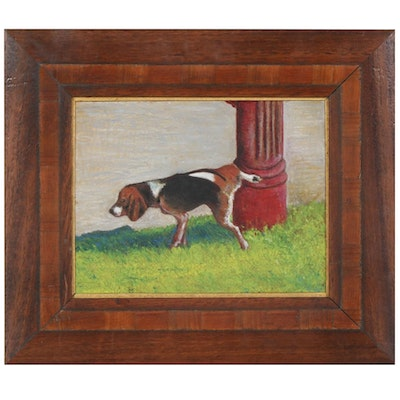 Oil Painting of a Beagle Lifting His Leg