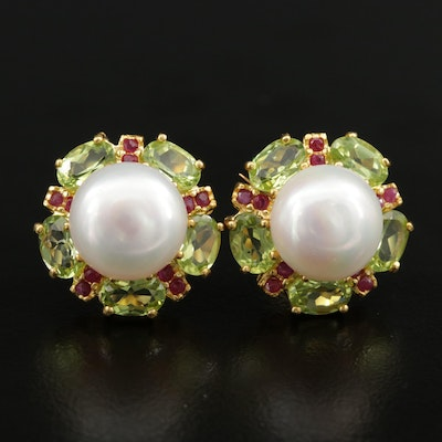 Sterling Silver Cultured Pearl, Peridot, and Ruby Earrings