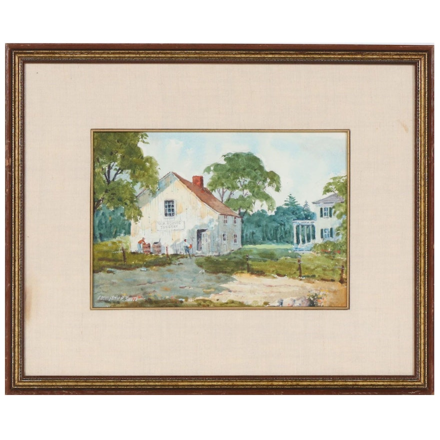 Ellsworth P. Smith Watercolor Painting of a Tannery