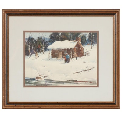 Lowell Ellsworth Smith Winter Scene Watercolor Painting