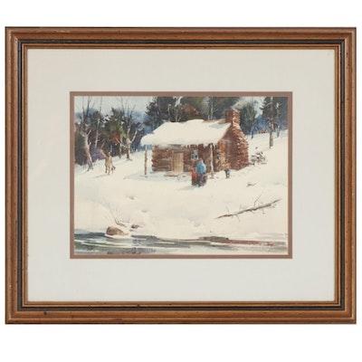 Lowell Ellsworth Smith Winter Scene Watercolor Painting