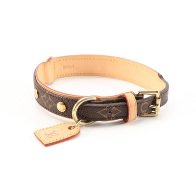 Louis Vuitton Baxter Dog Collar in Monogram Canvas and Vachetta Leather