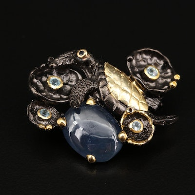 Sterling Swimming Turtle and Reef Brooch with Sapphire, Topaz and Amethyst