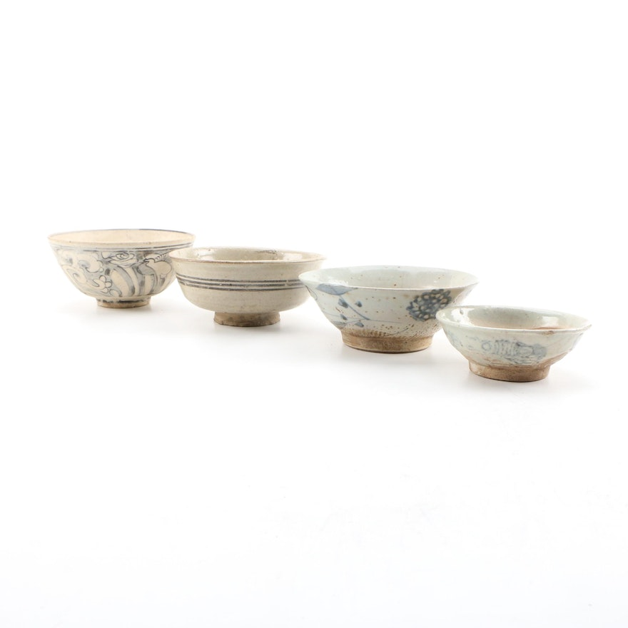 East Asian Hand-Painted Glazed Earthenware Bowls