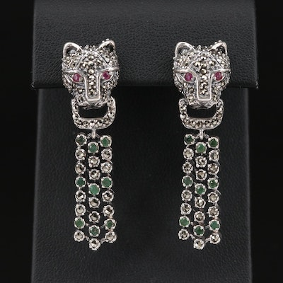 Sterling Silver Emerald, Ruby and Marcasite Panther Drop Earrings
