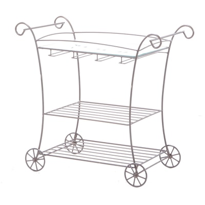 Metal and Glass Rolling Patio Cart with Spoke Wheels, Late 20th Century