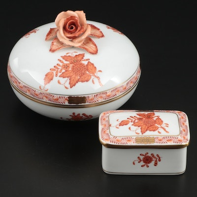 "Herend Rust ""Chinese Bouquet"" Bonbon Bowl and Trinket Box"
