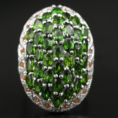 Sterling Silver Chrome Diopside and Yellow Sapphire Oval Dome Ring