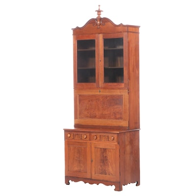 Mitchell & Rammelsberg Victorian Flame Mahogany and Walnut Secretary Bookcase
