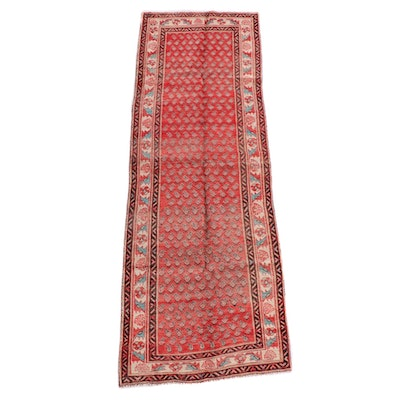 3'5 x 10'3 Hand-Knotted Persian Serabend Wool Long Rug