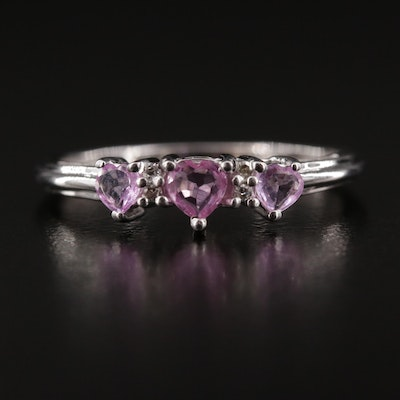 10K Diamond and Pink Sapphire Hearts Ring