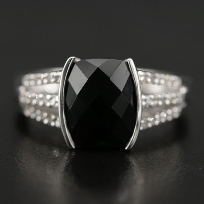 Sterling Silver Black Onyx and Diamond Ring