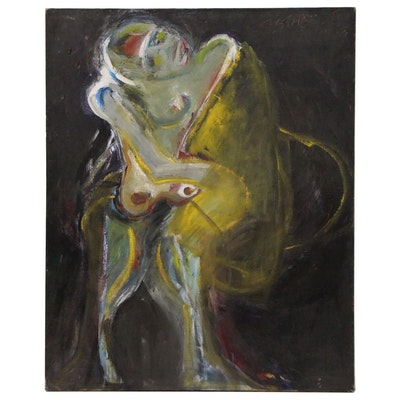 Esther Liu Monumental Abstract Figural Oil Painting, Late 20th Century