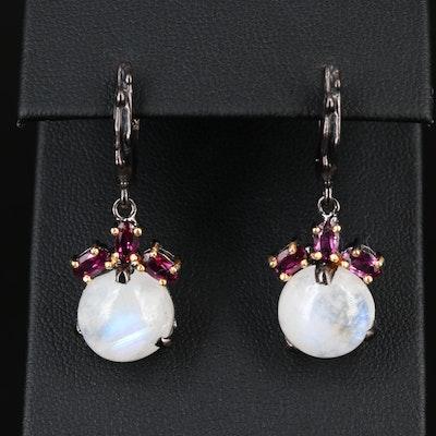 Sterling Silver Garnet and Rainbow Moonstone Dangle Earrings