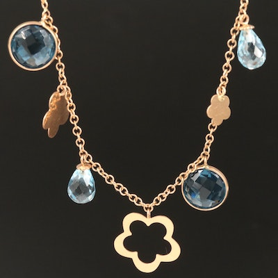 Le Gi 18K Blue Topaz and Glass Necklace
