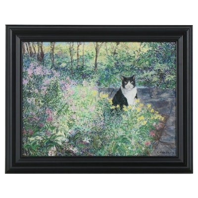Carol Hershey Pastel Drawing of Cat in Garden