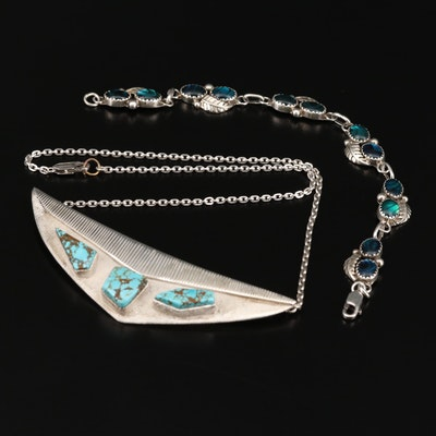 Western Signed Necklace and Bracelet with Glass, Abalone Doublet and Turquoise