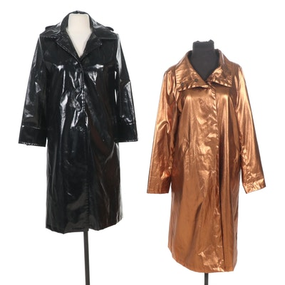 Jane Post for Saks Fifth Avenue Bronze Metallic and Black Raincoats