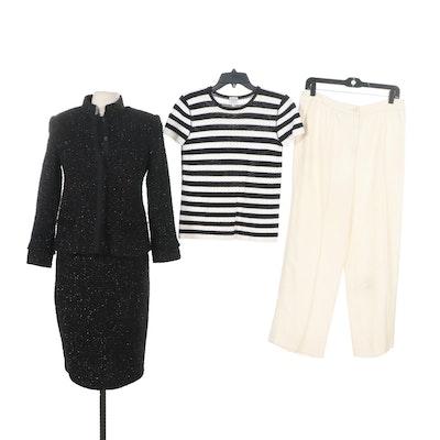 Armani Collezioni Metallic Black Dress Suit with Stripe Knit Top and Ivory Pants