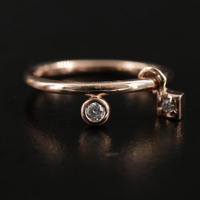 14K Rose Gold Diamond Ring with Charm Dangle