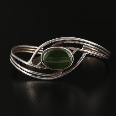 Sterling Nephrite Cuff Bracelet
