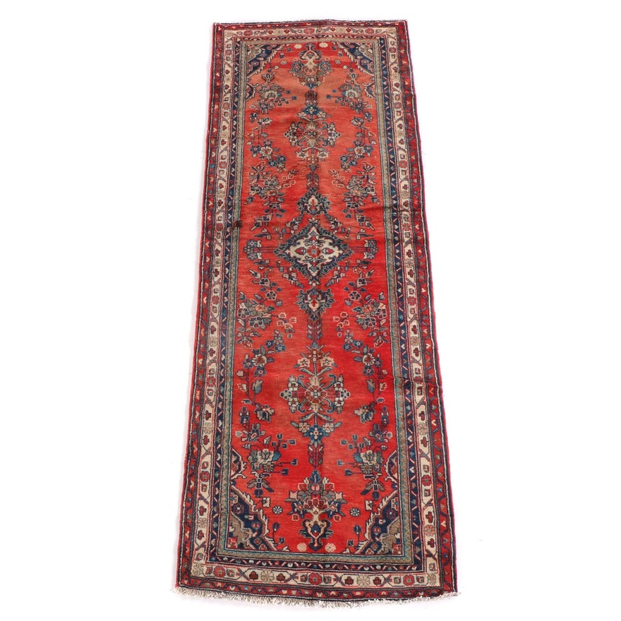 3'7 x 10'2 Hand-Knotted Persian Yazd Wool Long Rug