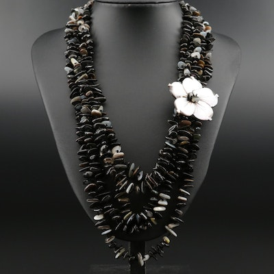 Hand Knotted Mother of Pearl Flower Multi-Strand Necklace