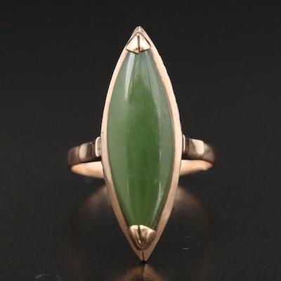 Vintage 14K Yellow Gold Nephrite Ring