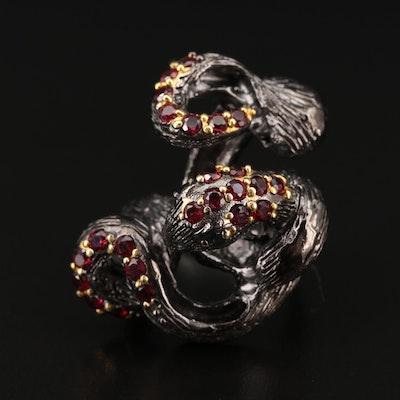 Sterling Silver Garnet Snake Ring