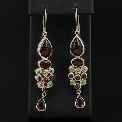 Sterling Silver Peridot and Garnet Dangle Earrings