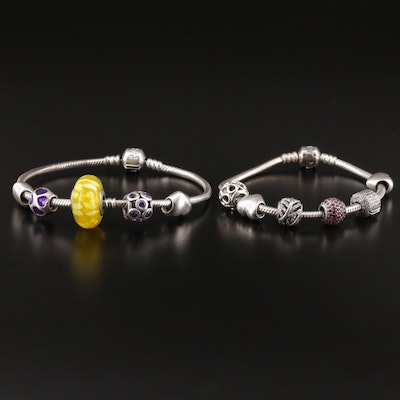 Pandora Sterling Bracelets with Charms Including Enamel