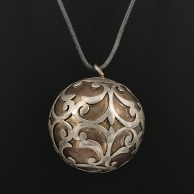 Sterling Overlay Scroll Pattern on Harmony Ball Pendant Necklace