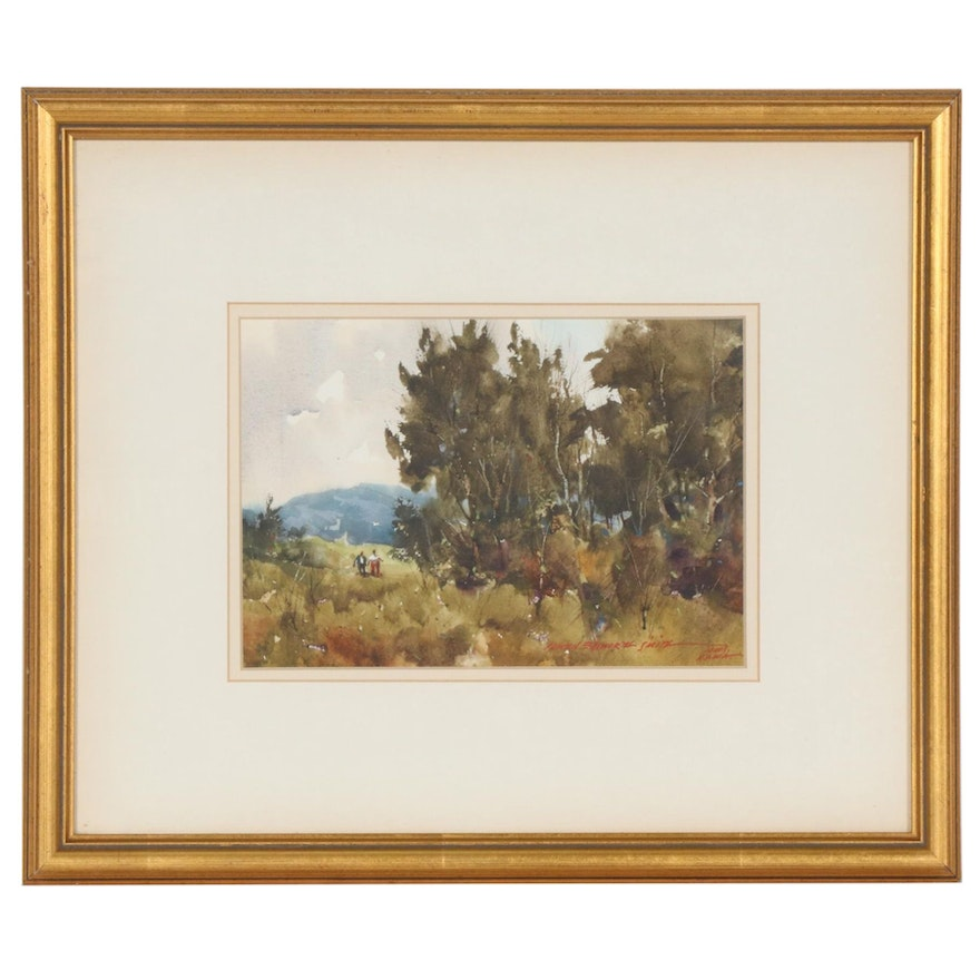 Lowell Ellsworth Smith Fall Landscape Watercolor Painting