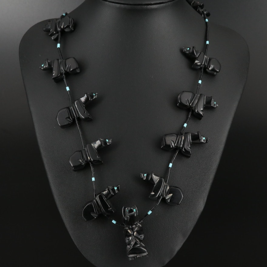 Western Jet, Faux Turquoise and Faux Black Onyx Bear Fetish Necklace