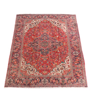 7'10 x 9'11 Hand-Knotted Persian Heriz Wool rug