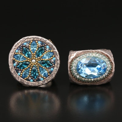 Sterling Silver Glass and Cubic Zirconia Electroform Rings
