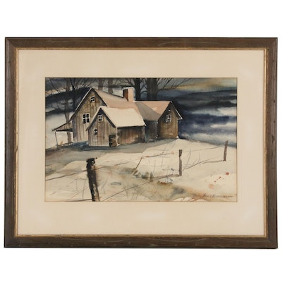 Allen Kohnhorst Watercolor Painting of a Farmhouse, Mid-20th Century