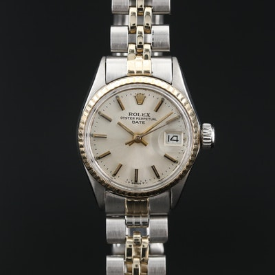 1968 Rolex Oyster Perpetual Date 14K and Stainless Steel Automatic Wristwatch