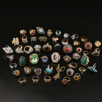 Large Ring Selection Featuring Rhinestone, Jasper, and Faux Pearl Accents