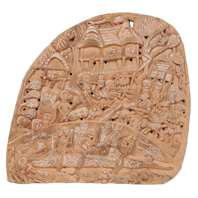 East Sepik Carved Wood Story Board of Village Scene