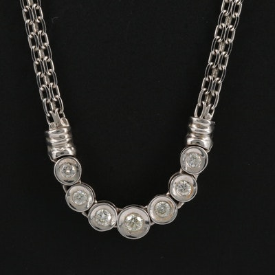 14K Diamond Graduated Stationary Necklace