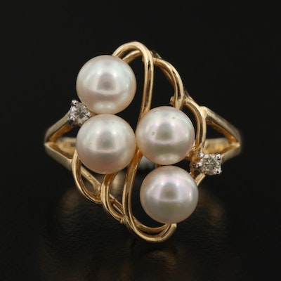 14K Cultured Pearl and Diamond Ring