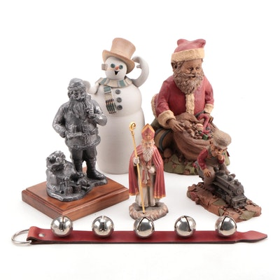 Michael Ricker Pewter Santa Figurine with Other Christmas Table Decor